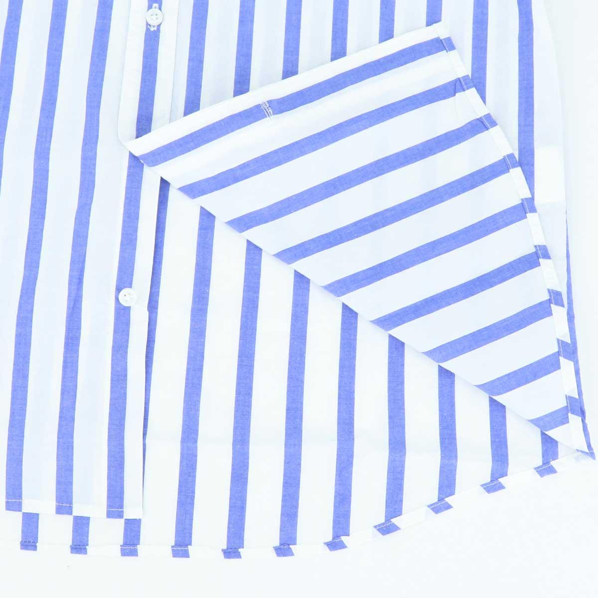 ブロード ストライプ ホリゾンタルカラーシャツ(BLUE)