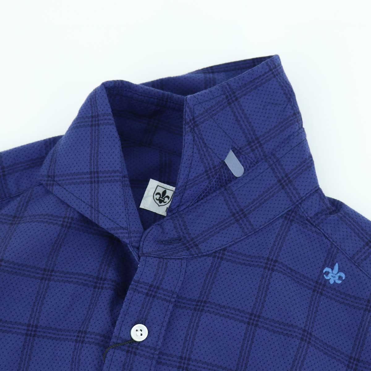 ピンドット×ラインチェック ホリゾンタルカラーシャツ(NAVY)