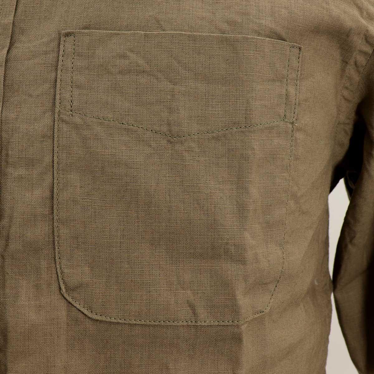 コットンリネン ボタンダウンシャツ(GREEN)