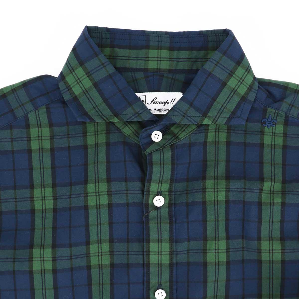 トラディショナルチェック柄 ホリゾンタルカラーシャツ(GREEN)