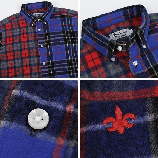 フランネル クレイジーパターン ボタンダウンシャツ(BLUE×NAVY×RED)