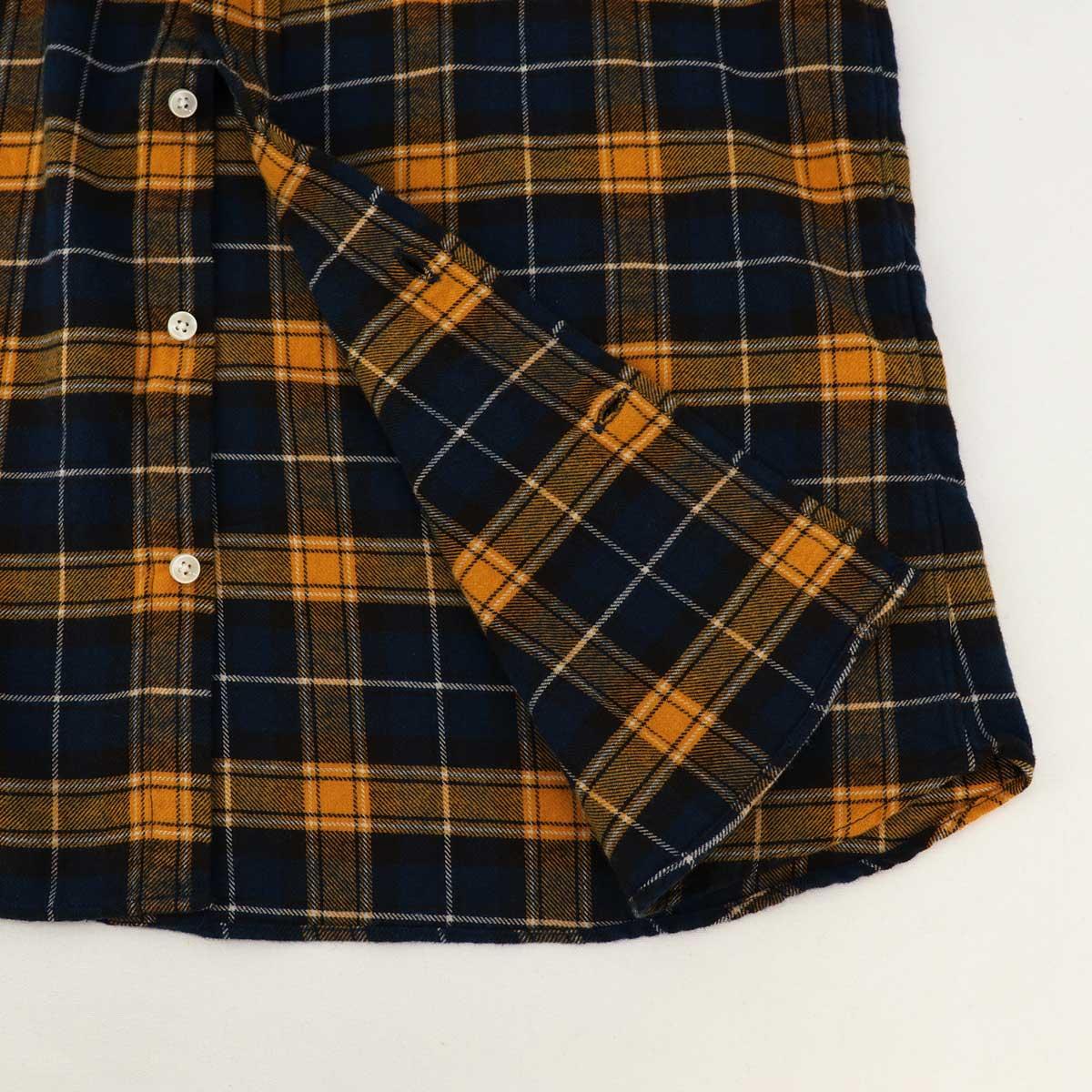フランネル チェック ボタンダウンシャツ(YELLOW×NAVY)