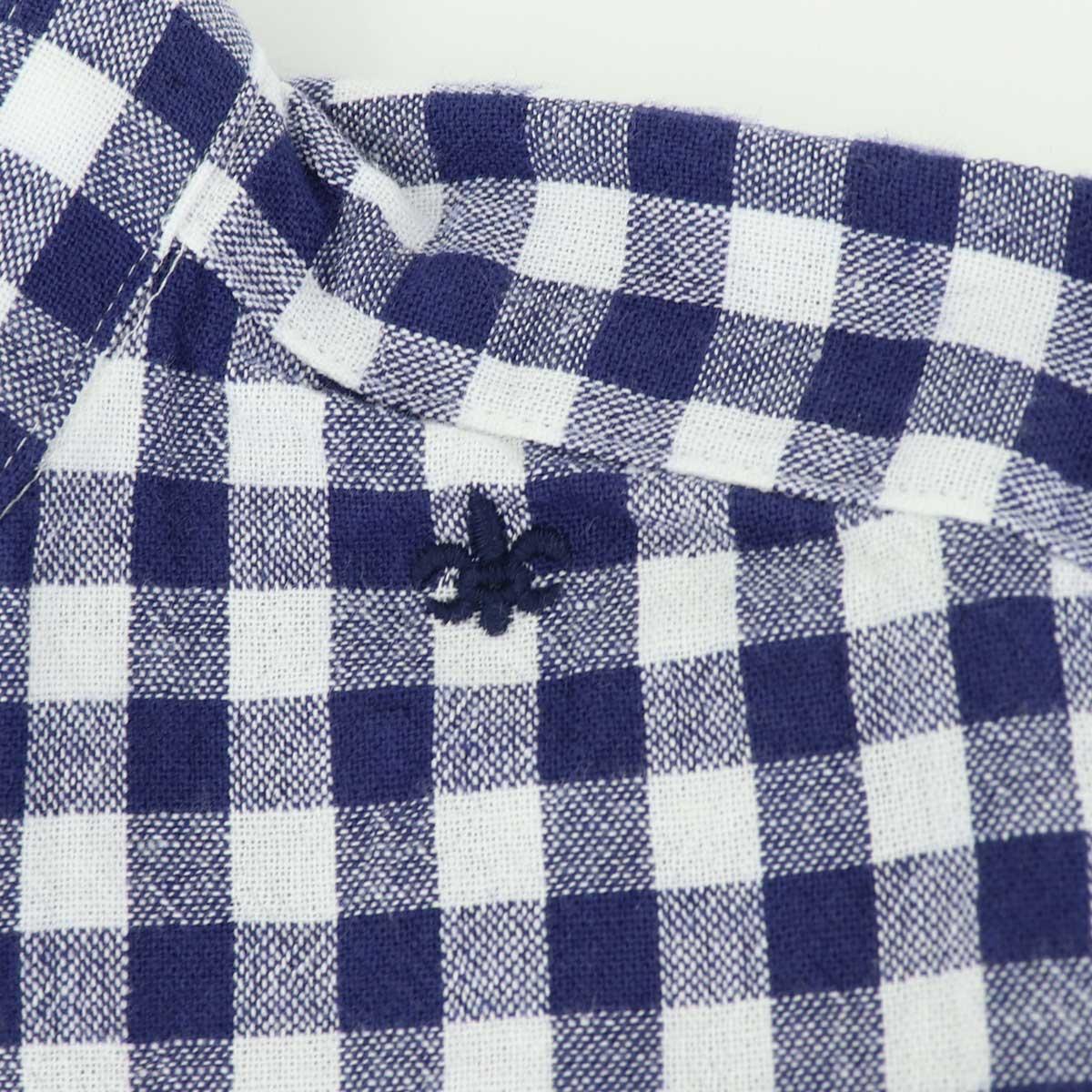 コットンリネン ギンガムチェック バンドカラーシャツ(NAVY)