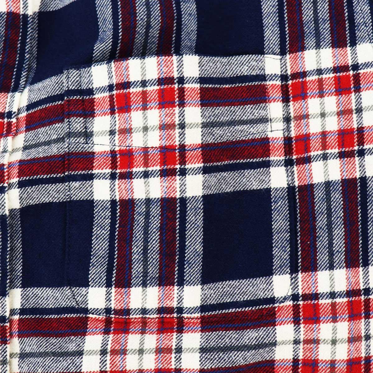 フランネル チェック ボタンダウンシャツ(NAVY×RED)