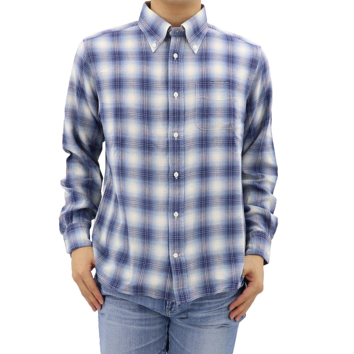 リネン混 オンブレーチェック ボタンダウンシャツ BLUE (ブルー)