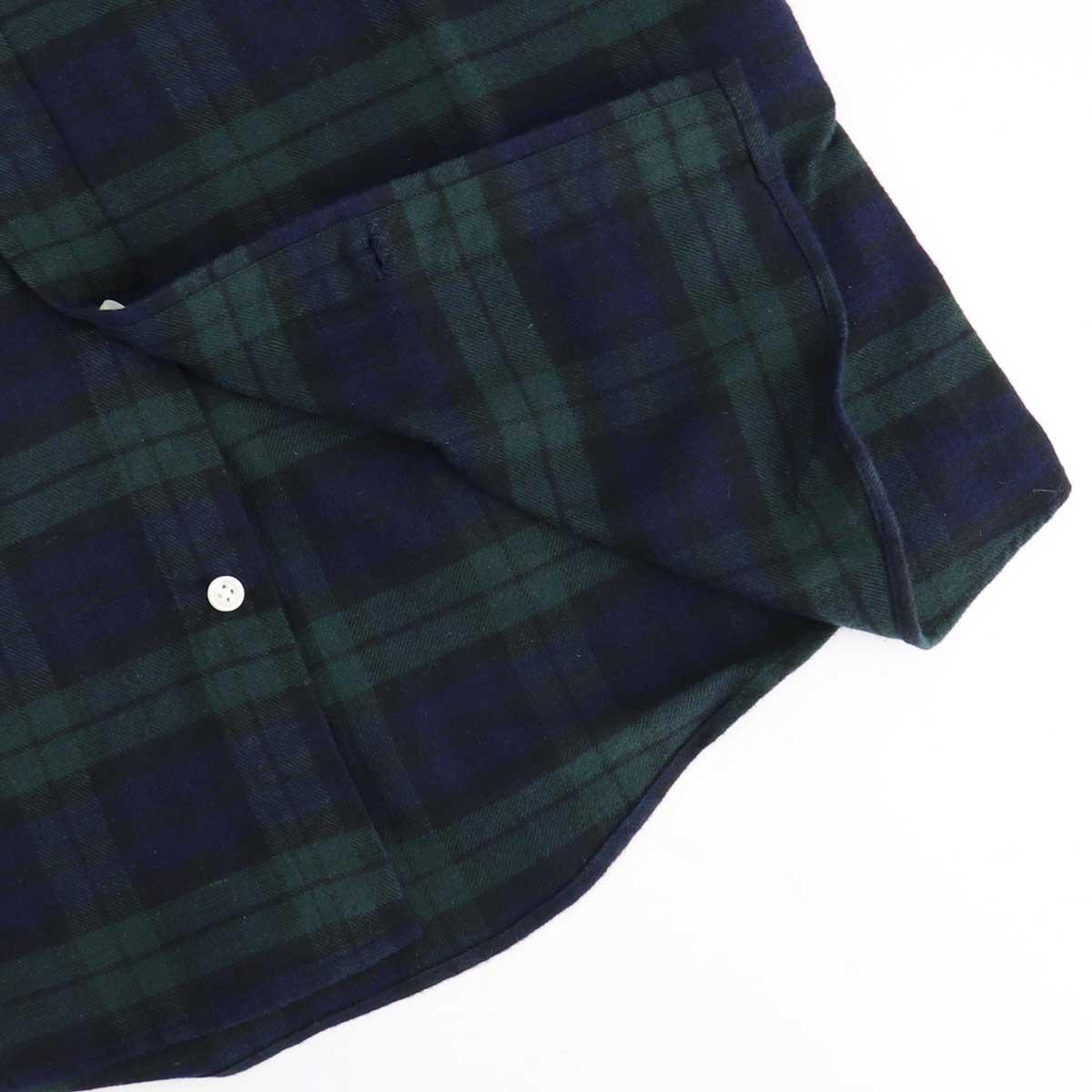 フランネル タータンチェック ボタンダウンシャツ(GREEN)