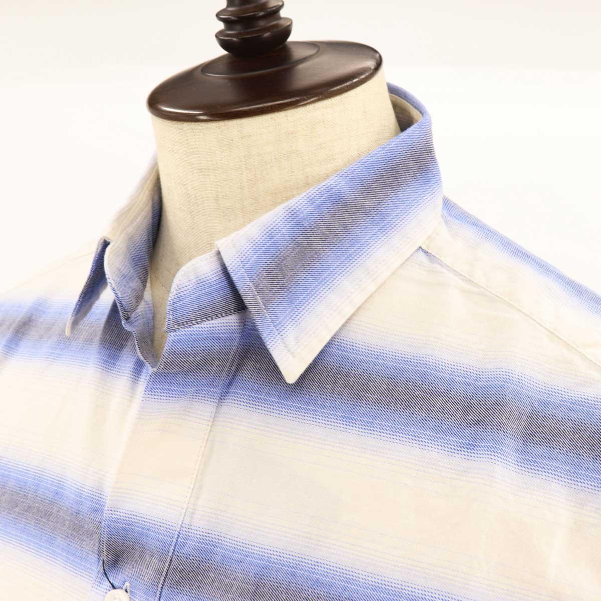 【50%OFF】オンブルボーダー レギュラーカラー カプリシャツ(BLUE)