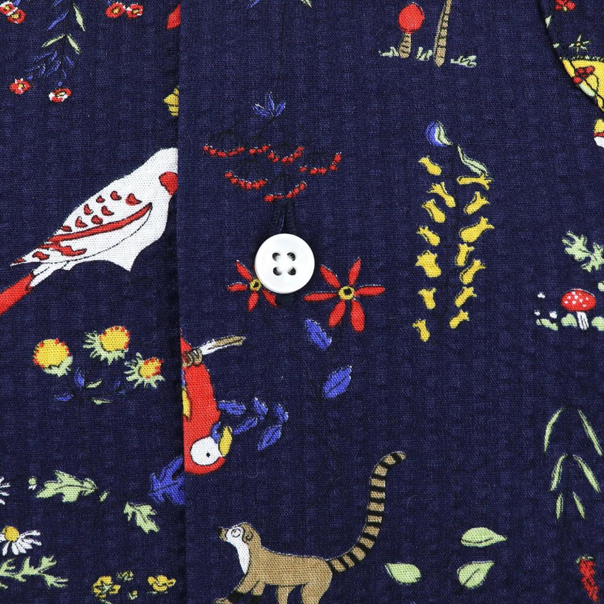 リゾートライン:シアサッカー 南国プリント オープンカラーシャツ SL140005 NAVY(ネイビー)