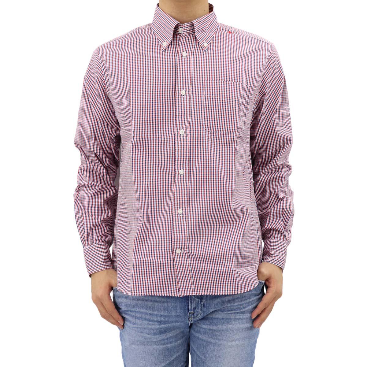 ピンオックスフォード ギンガムチェック ボタンダウンシャツ SL130008 RED×NAVY (レッド×ネイビー)