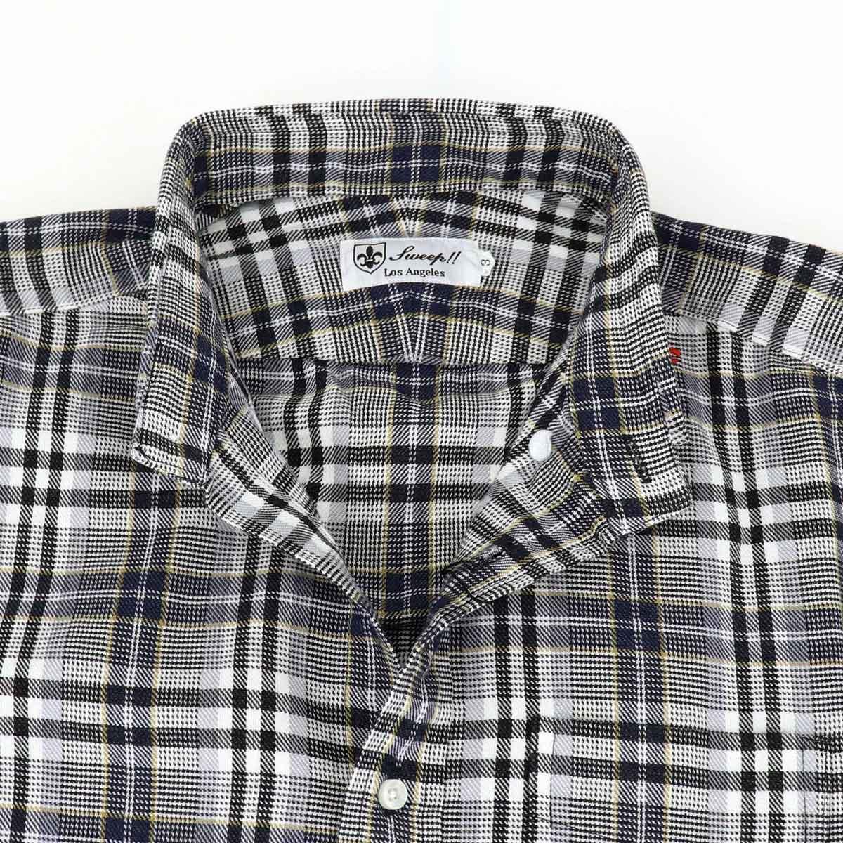 コットンツイル チェック ボタンダウンシャツ(GREY×BROWN)