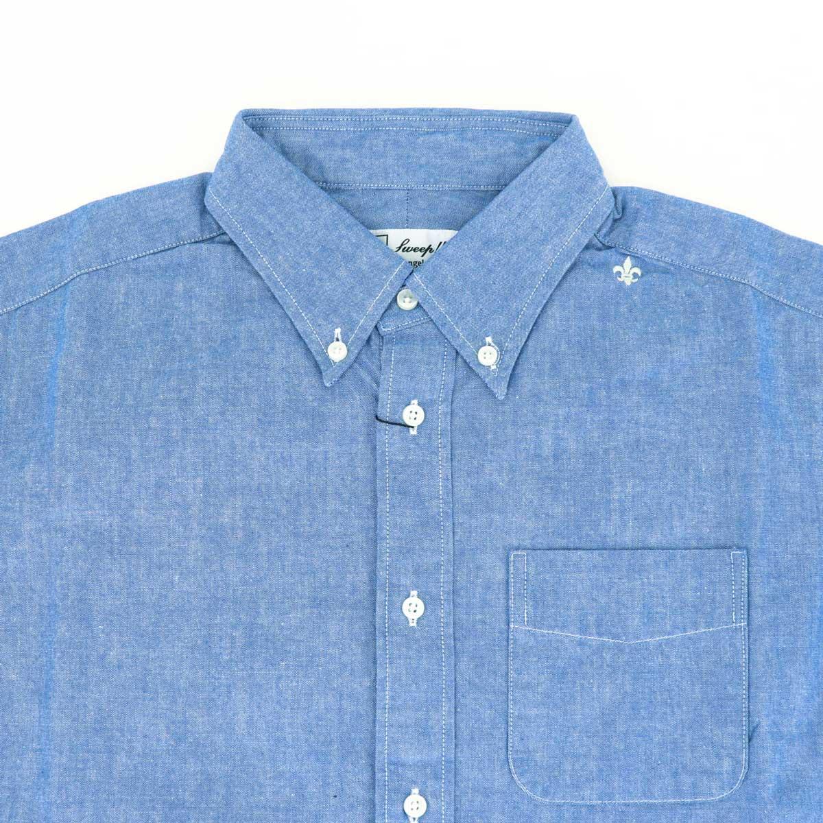 シャンブレー ボタンダウンシャツ(BLUE)