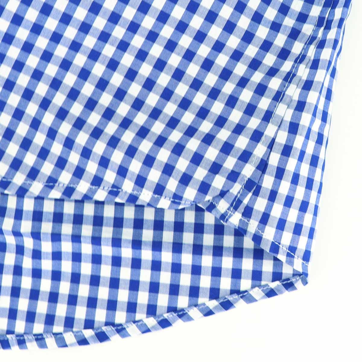 ブロード ギンガムチェック ボタンダウンシャツ(BLUE)