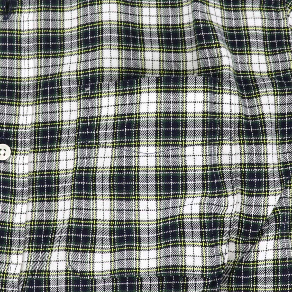 コットンツイル チェック ボタンダウンシャツ(GREEN)
