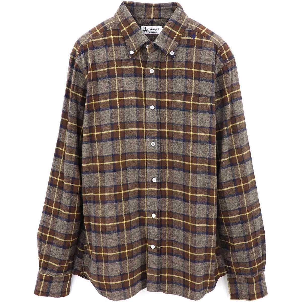 フランネル チェック ボタンダウンシャツ(BLUE×RED)