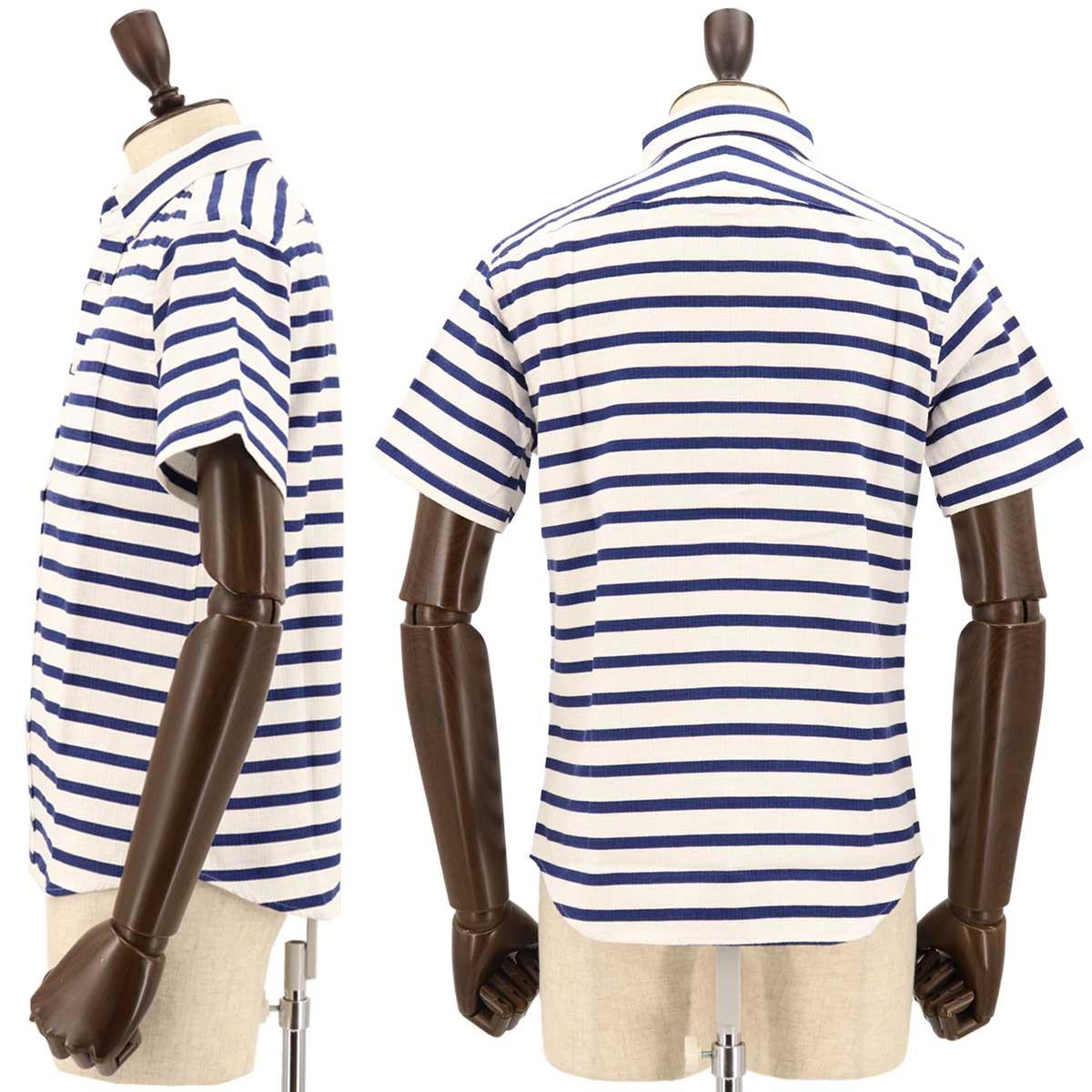 コットンリネン ボーダー ボタンダウンシャツ(NAVY)