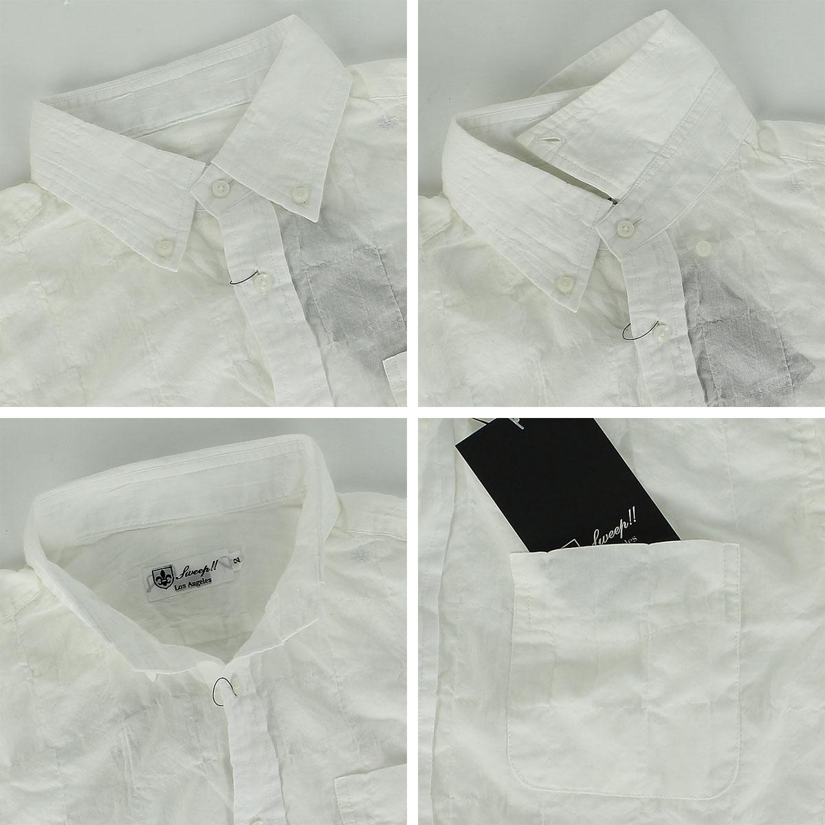 ガーゼパッチワーク風 ボタンダウンシャツ(WHITE)