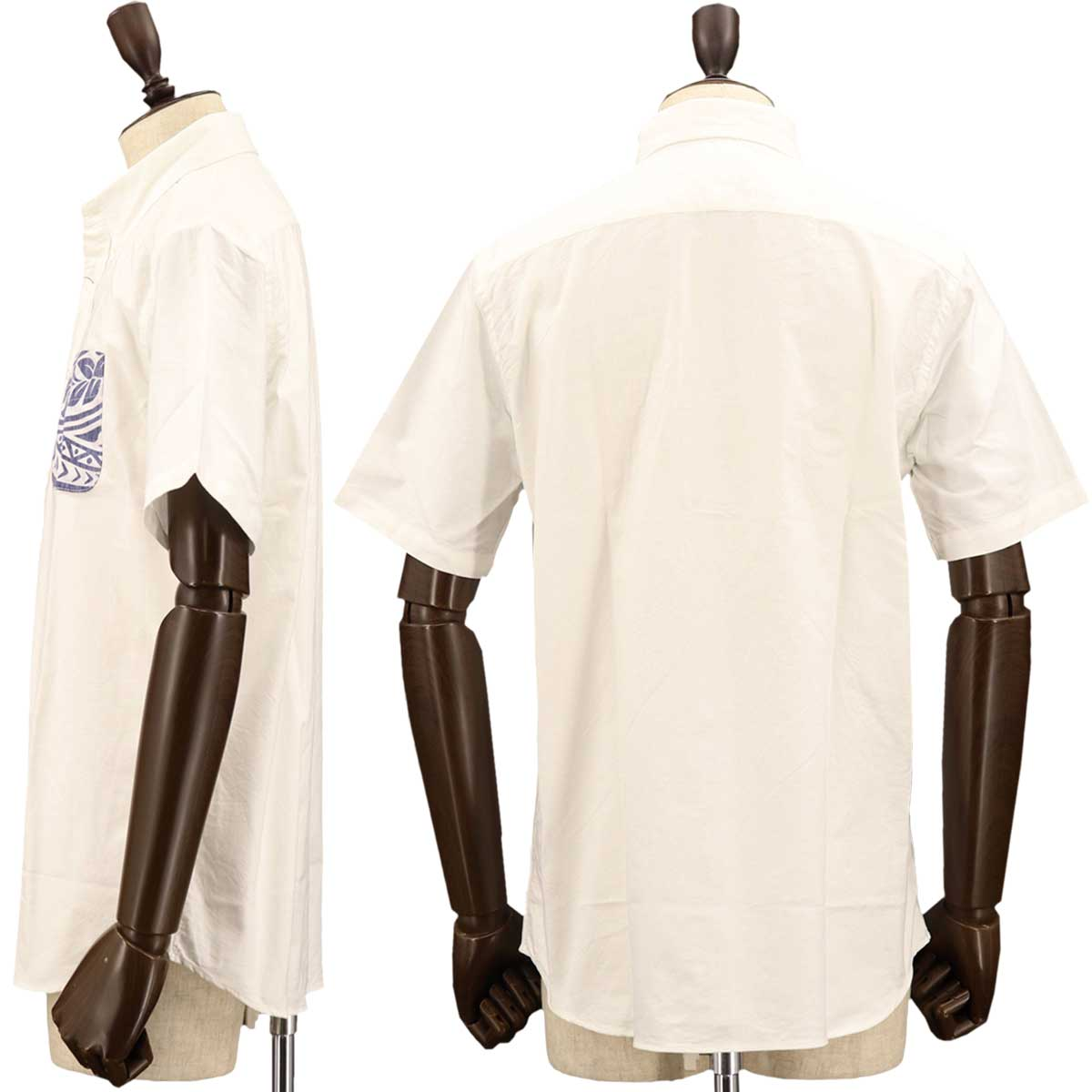 【50%OFF】オックスフォード アロハ柄 ボタンダウンシャツ(WHITE)