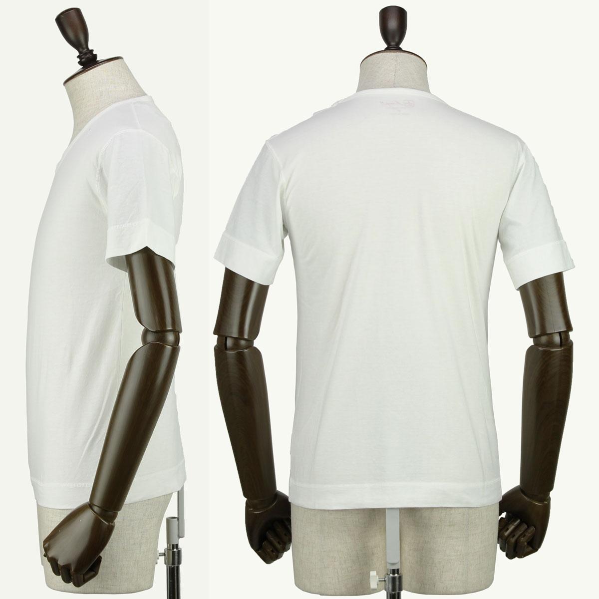 VネックTシャツ 刺繍同色(WHITE)