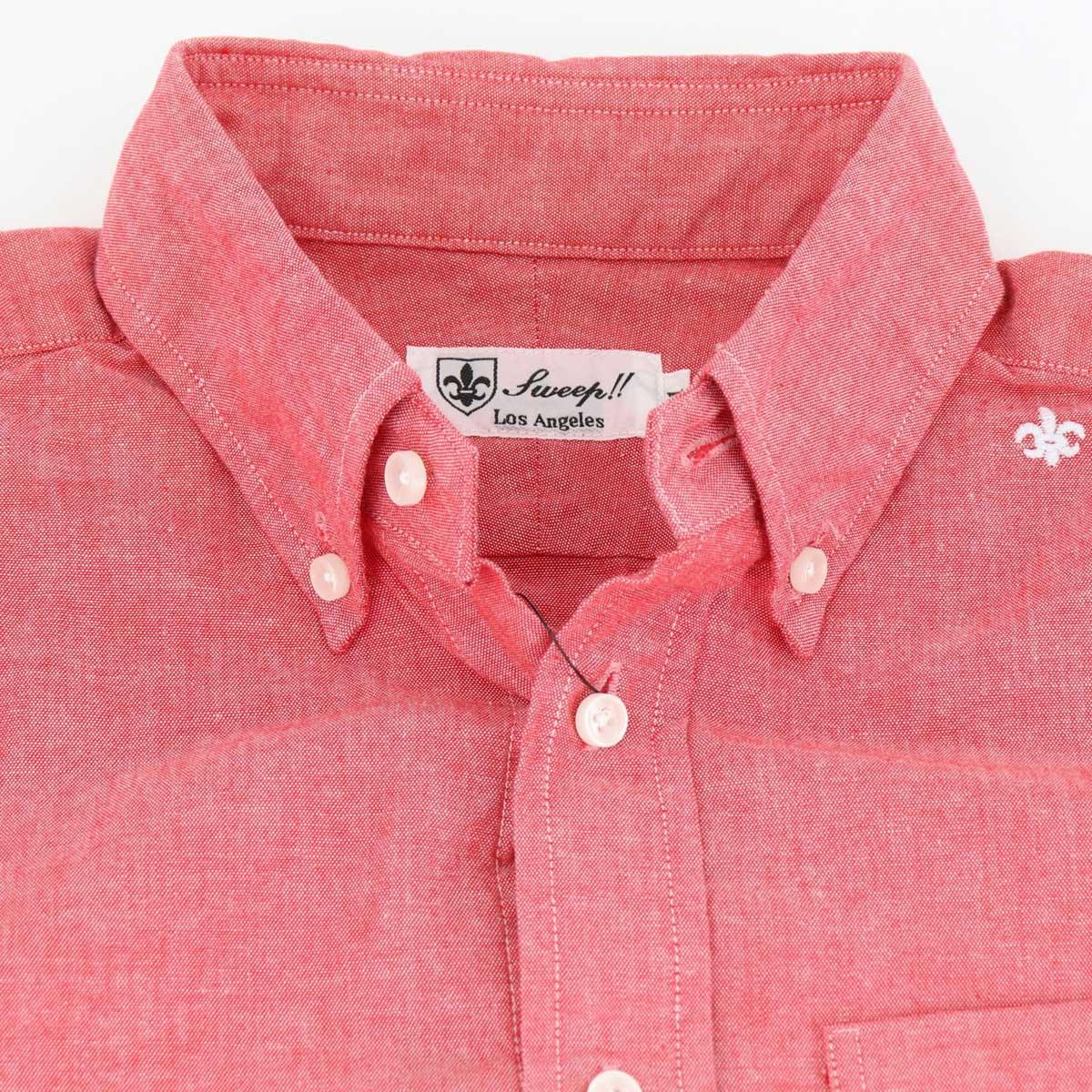 シャンブレー ボタンダウンシャツ(RED)