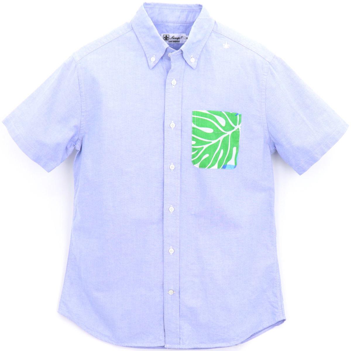 【50%OFF】オックスフォード アロハ柄 ボタンダウンシャツ(BLUE)