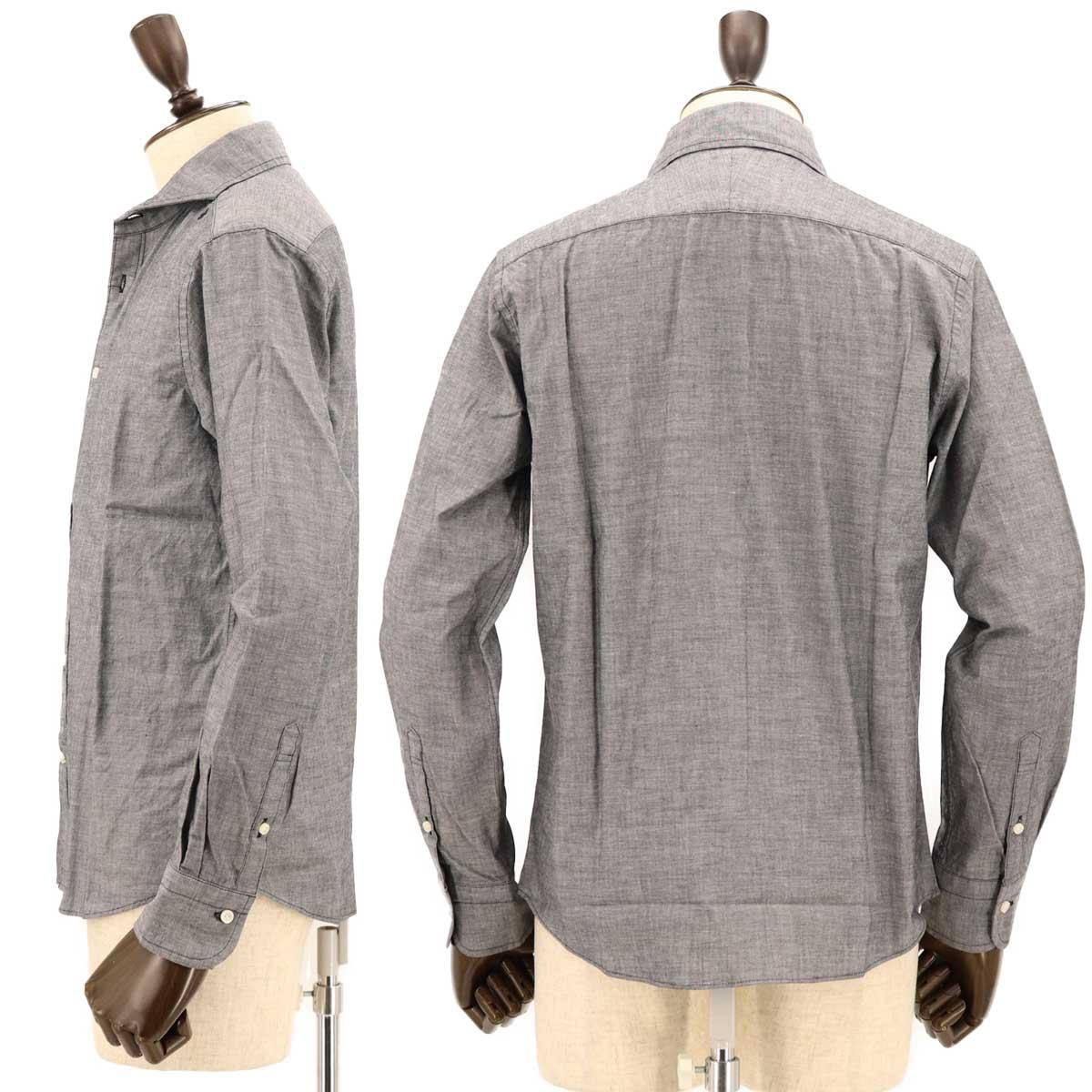 シャンブレー ホリゾンタルカラーシャツ(BLACK)