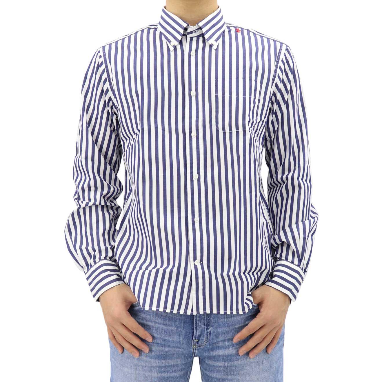 ブロード ロンドンストライプ ボタンダウンシャツ NAVY (ネイビー)