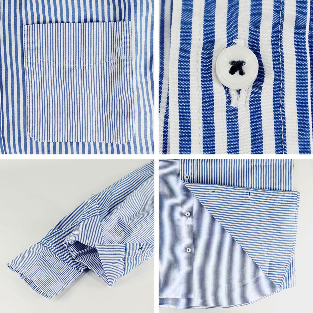 SWEEP!! LosAngeles スウィープ ロサンゼルス メンズ コットン クレイジーストライプ ボタンダウンシャツ Stripe-CZ NAVY (ブルー)