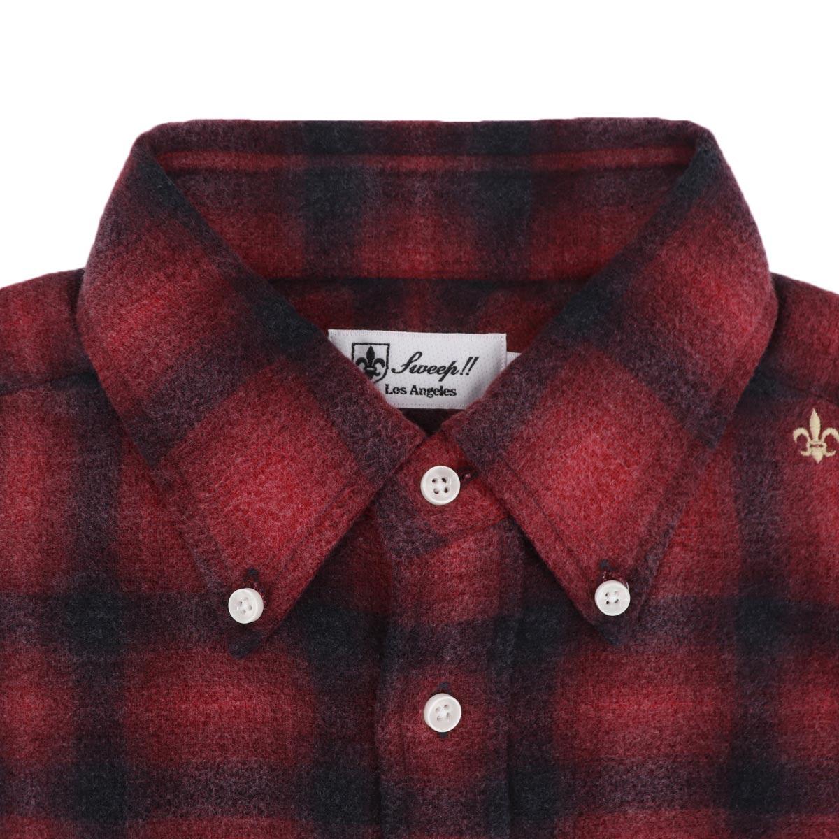 フランネル オンブレチェック ボタンダウンシャツ SL130018 RED (レッド)