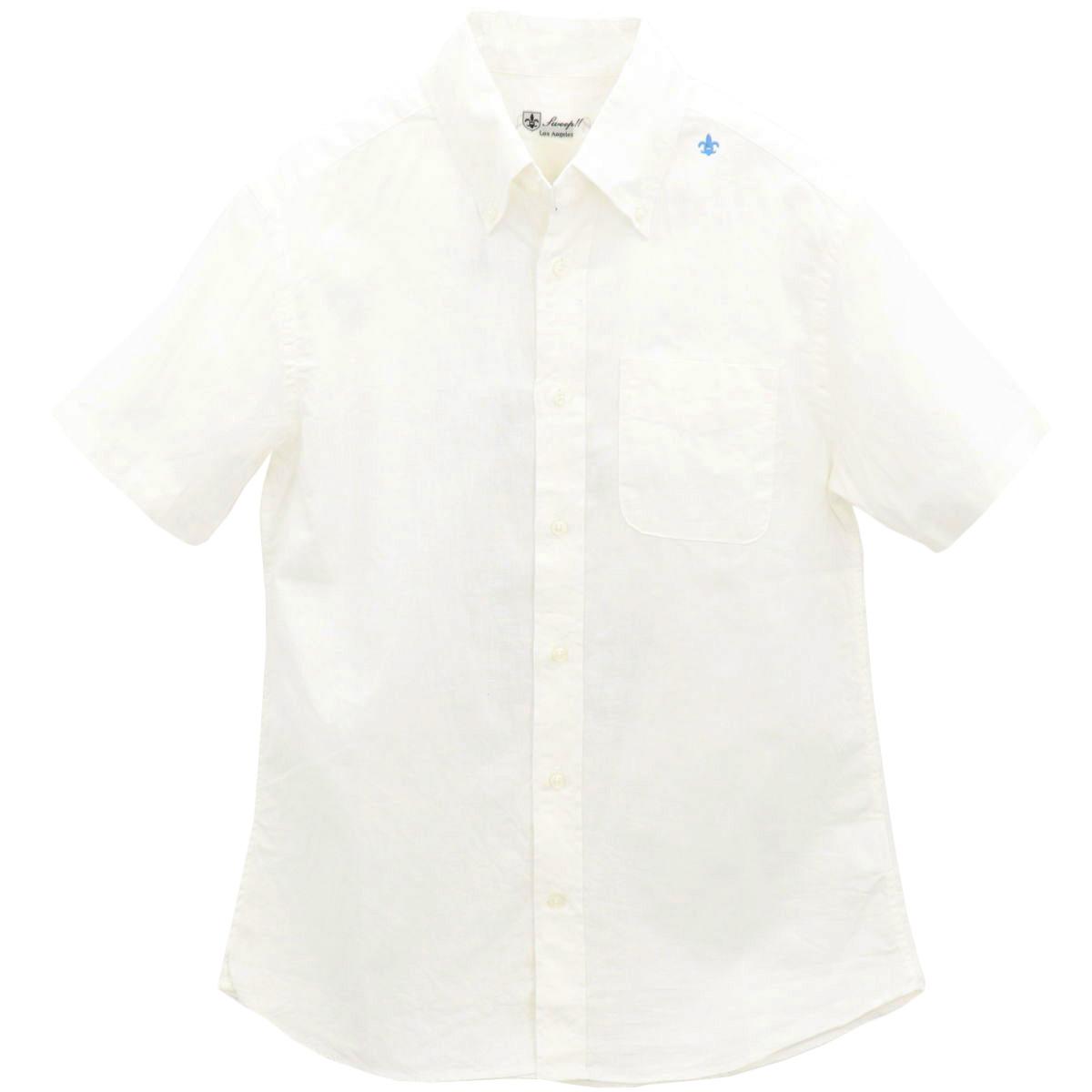 コットンリネン ボタンダウンシャツ 半袖 (WHITE)