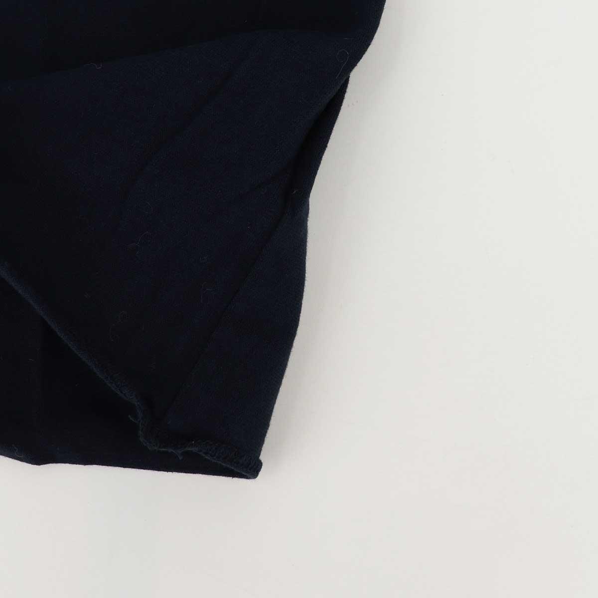 5分袖 クルーネックTシャツ 刺繍配色(NAVY)
