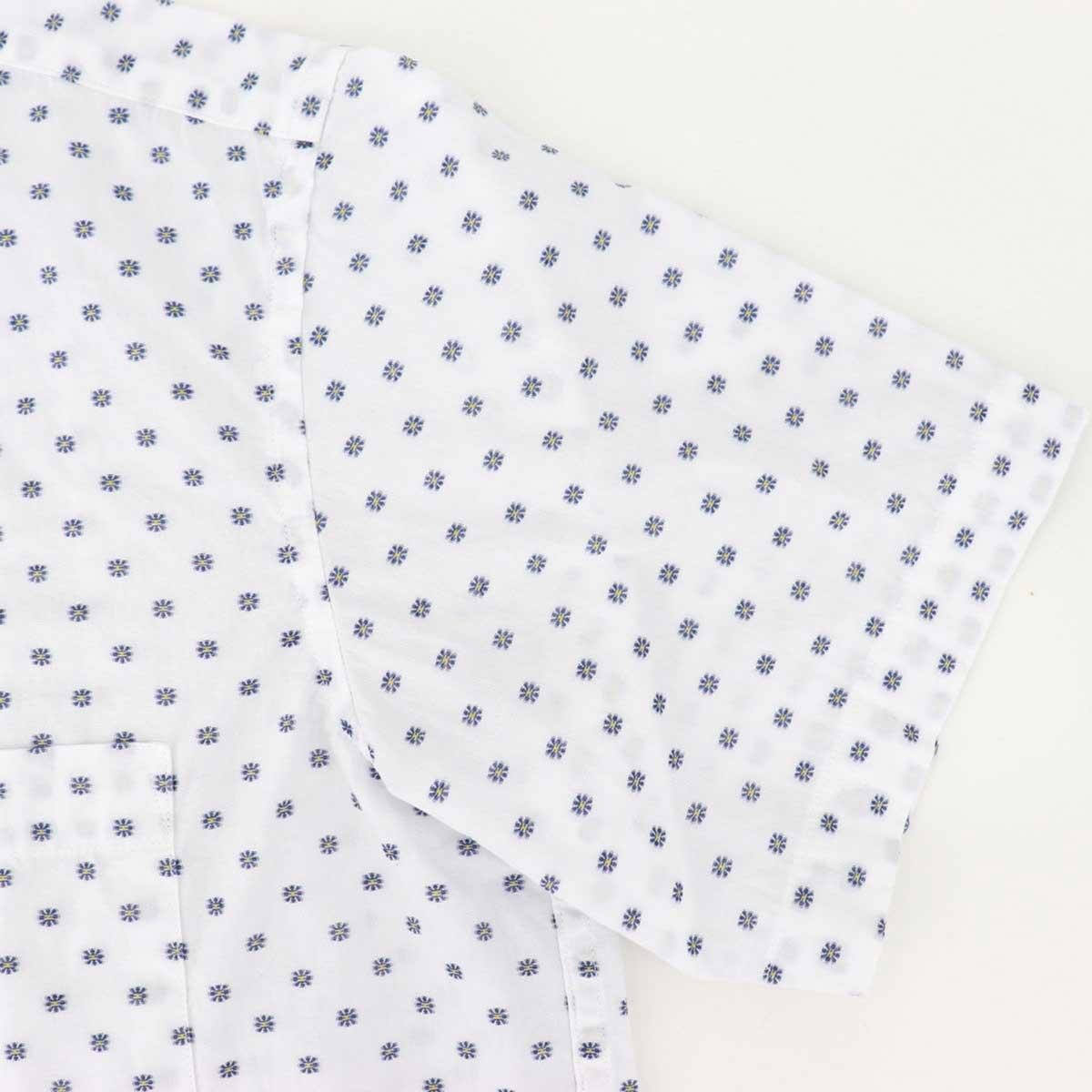 リゾートライン:小花柄刺繍 オープンカラーシャツ WHITE(ホワイト)