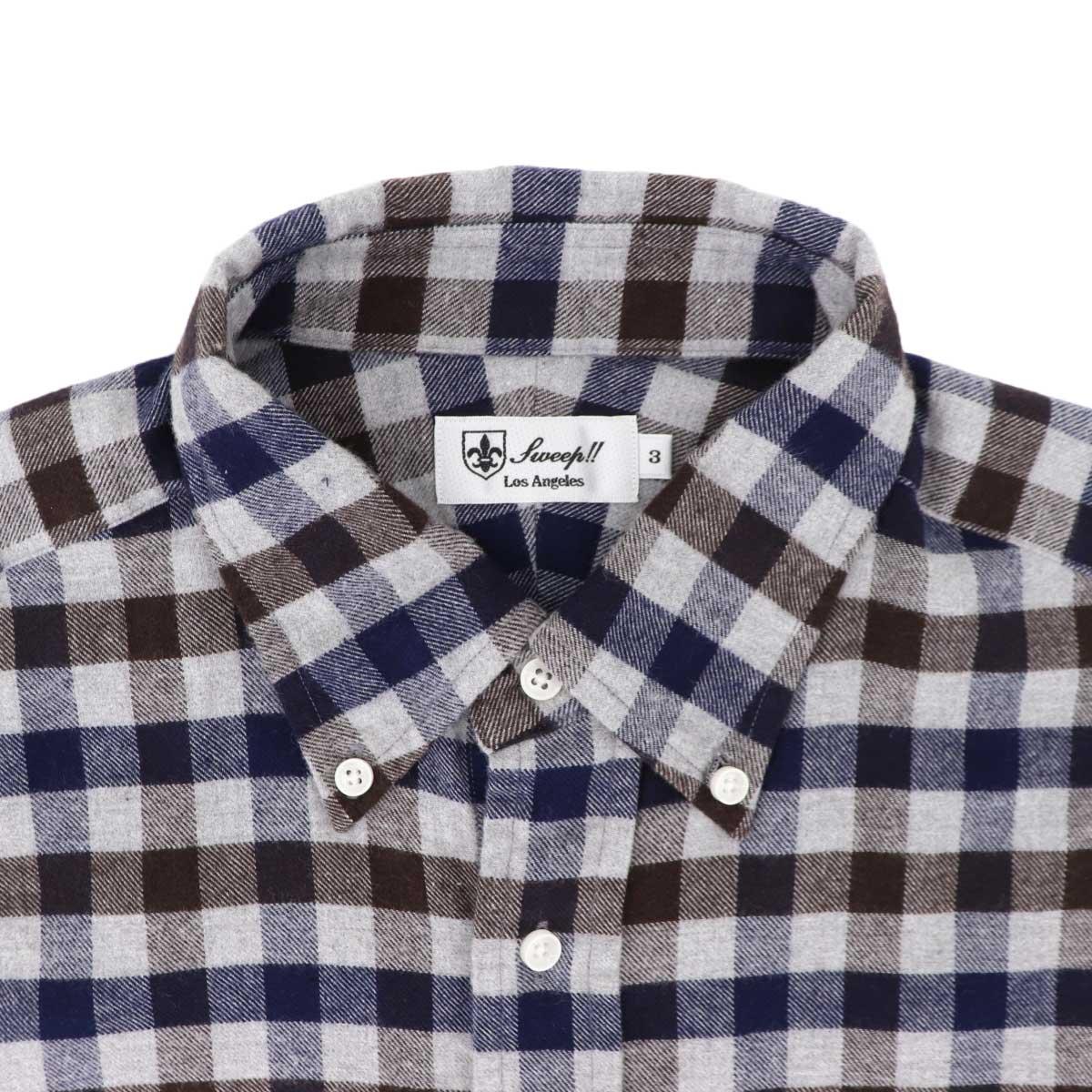 フランネル ギンガムチェック ボタンダウンシャツ SL130017 GRAY (グレー)