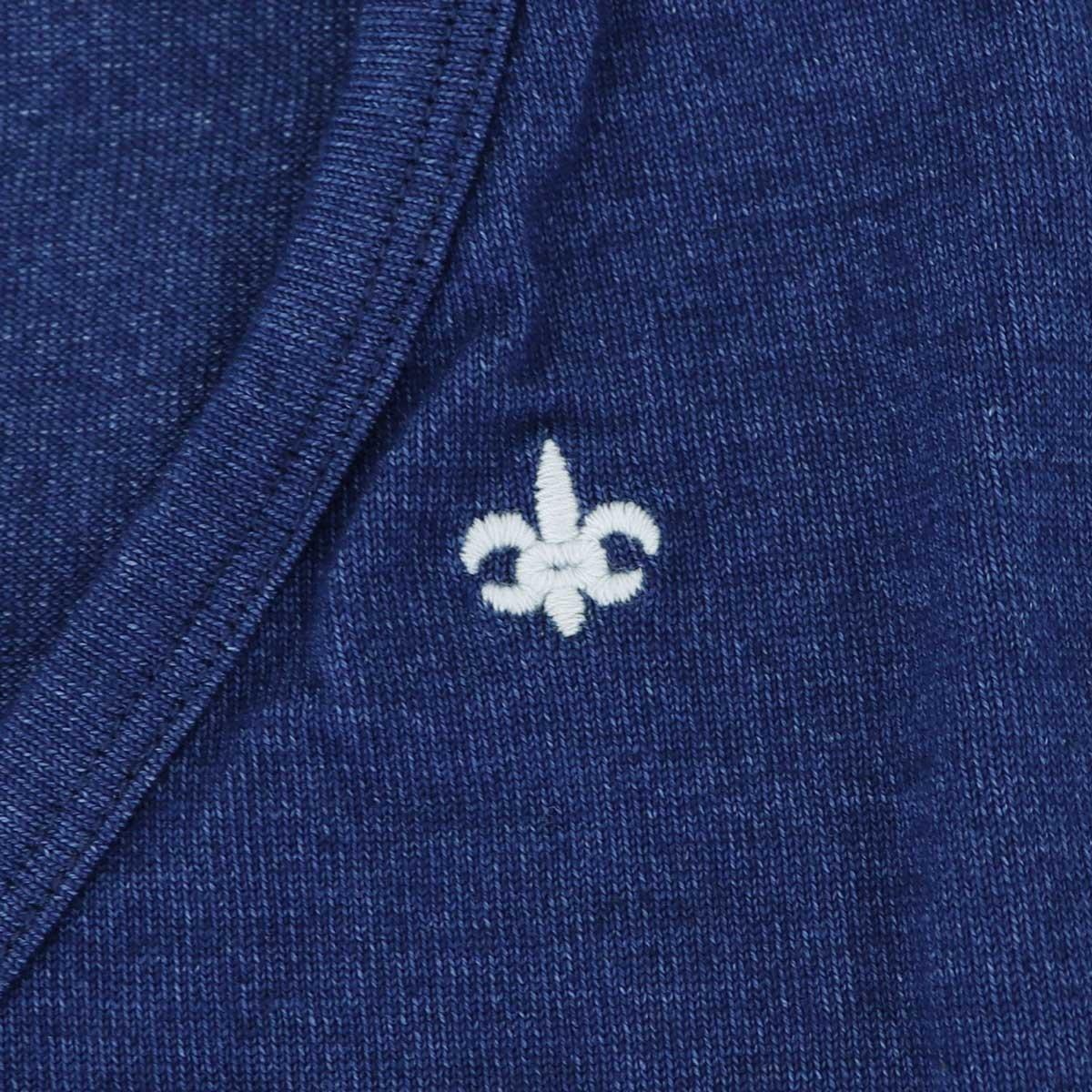VネックTシャツ 刺繍配色(BLUE)