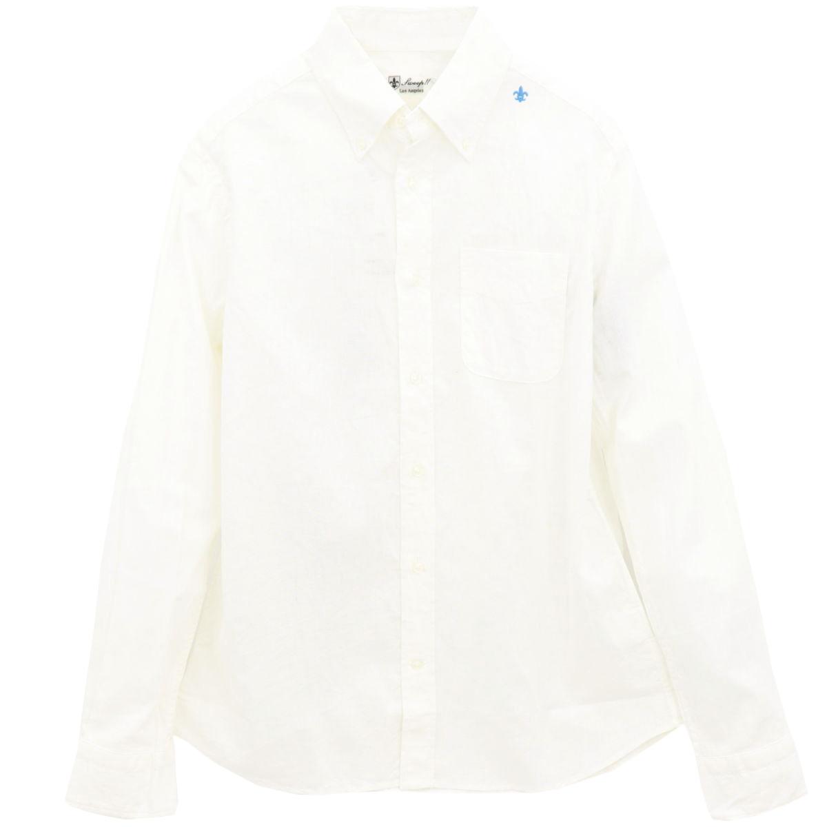 コットンリネン ボタンダウンシャツ(WHITE)