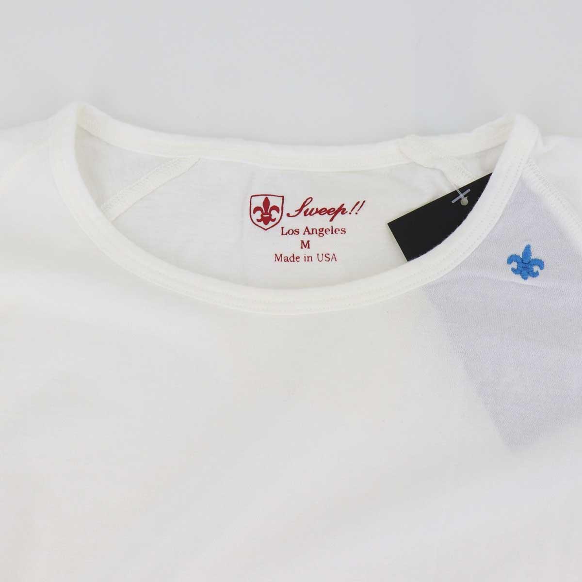 5分袖 クルーネックTシャツ 刺繍配色(WHITE)