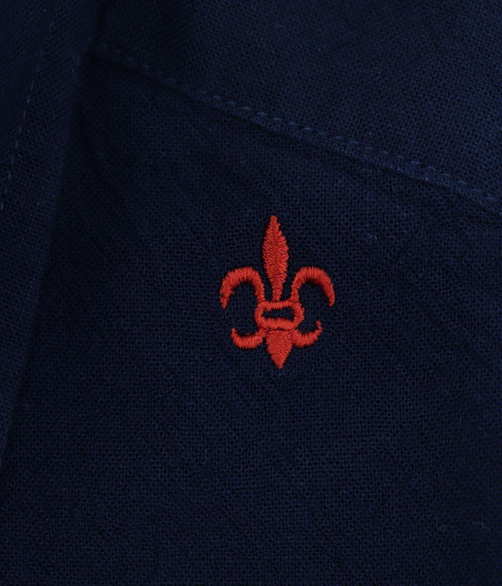 リネン混 レーヨンシャンブレー ボタンダウンシャツ NAVY (ネイビー)