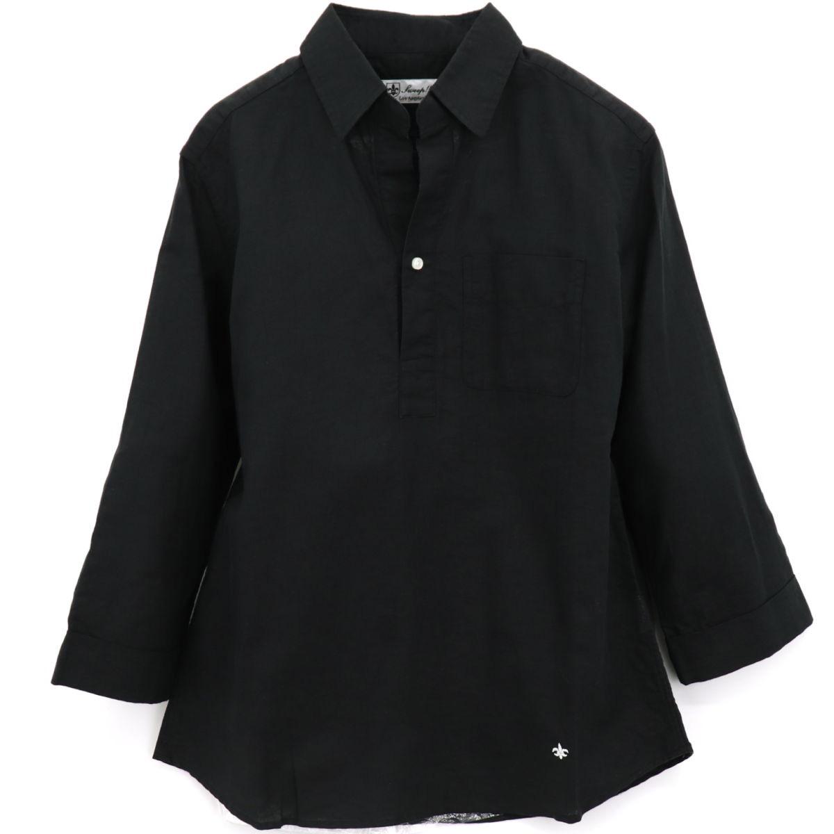 コットンリネン カプリシャツ(BLACK)