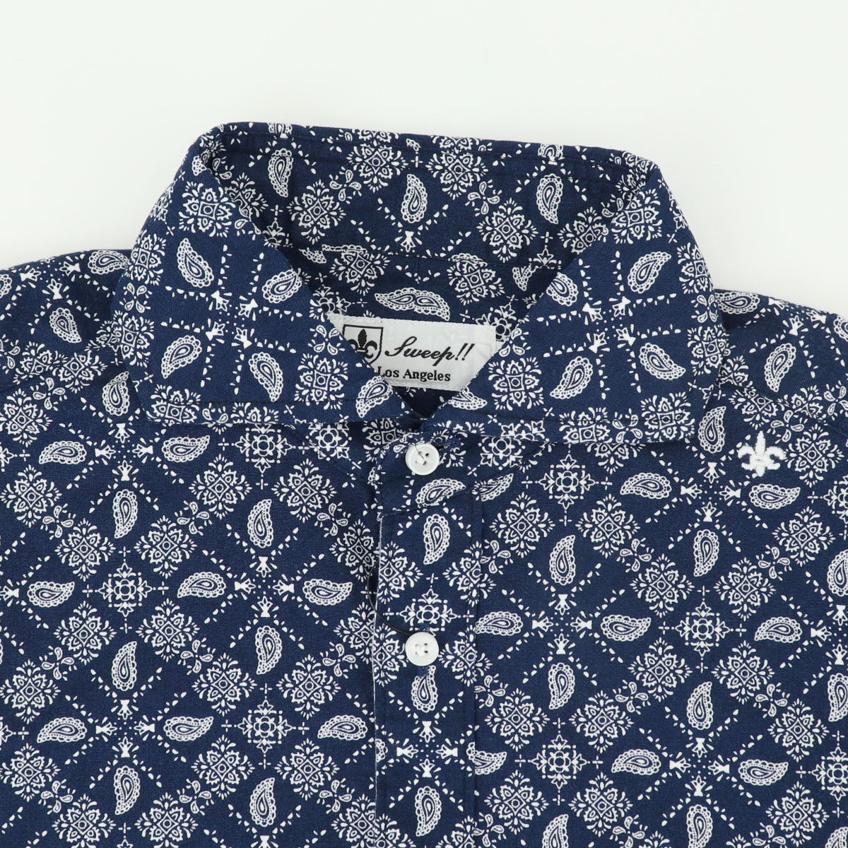 ペーズリー柄 ホリゾンタルカラーシャツ 長袖(NAVY)