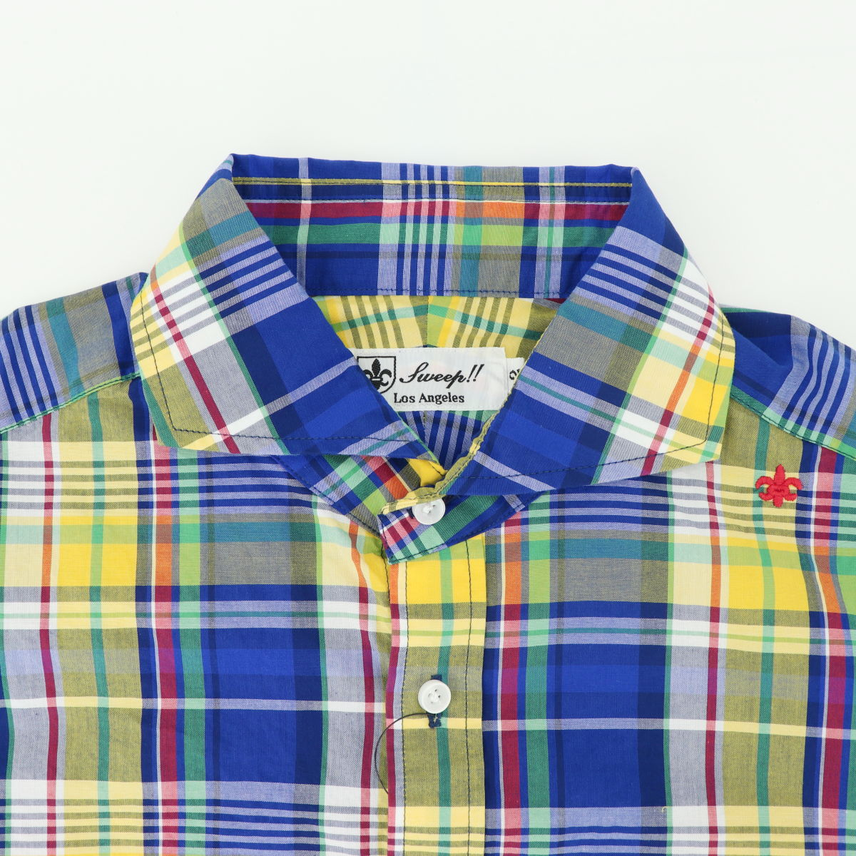マドラスチェック ホリゾンタルカラーシャツ 長袖(BLUE×YELLOW)