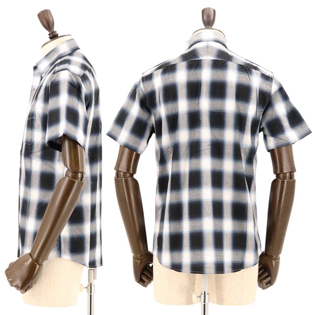 【50%OFF】オンブレチェック ボタンダウンシャツ BLACK(ブラック)