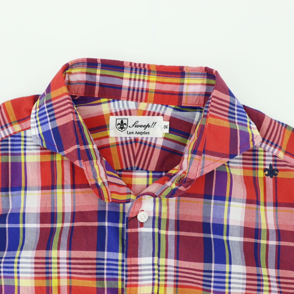 マドラスチェック ホリゾンタルカラーシャツ 長袖(RED×BLUE)