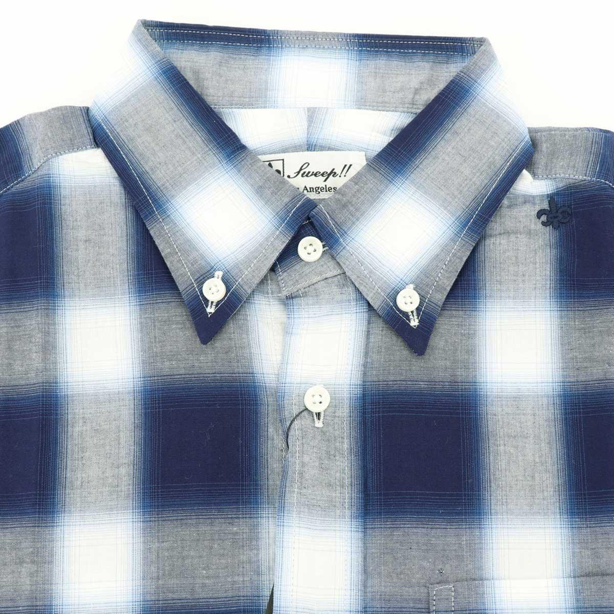 【50%OFF】オンブレチェック ボタンダウンシャツ(NAVY)