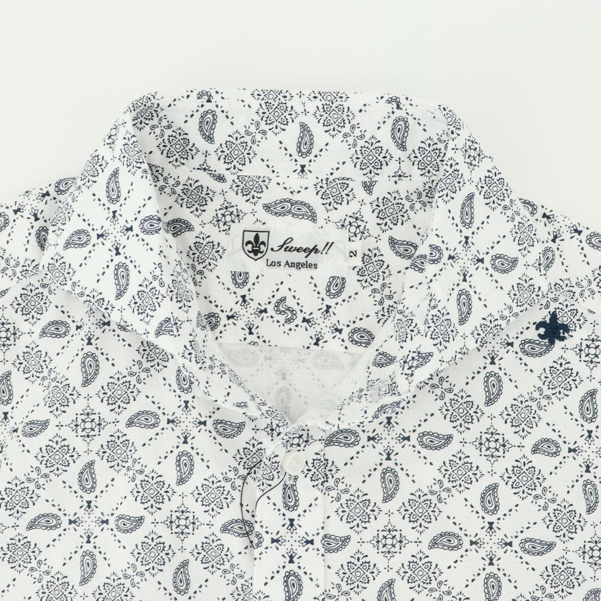 ペイズリー柄 ホリゾンタルカラーシャツ 半袖(WHITE)