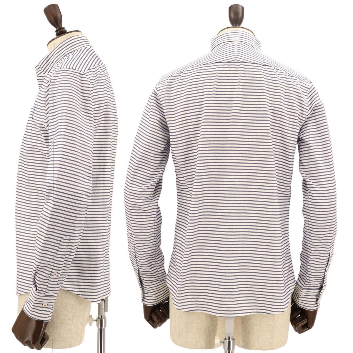 オックスフォード ボーダー ボタンダウンシャツ(NAVY)