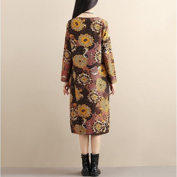 ワンピース 長袖  シャツワンピース ロング 花柄 フラワー  体型カバー 秋 レディース秋冬