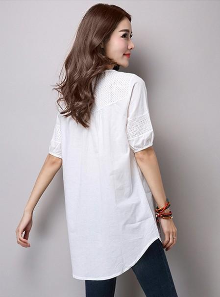 チュニックカットソー Tシャツ Vネック シャツ ブラウス 体型カバー トップス 夏 レディース