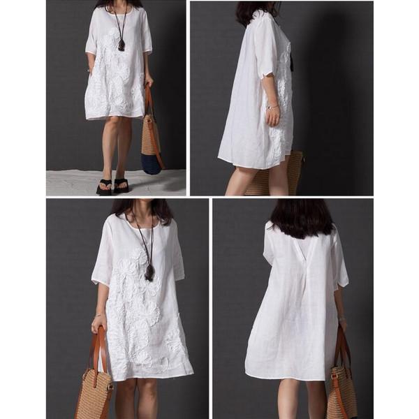 ワンピース 半袖 シャツワンピース チュニック 刺繍 体型カバー Aライン レディース