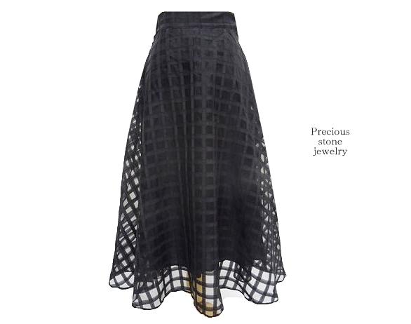 ブラックテープチェックラインデザインスカート