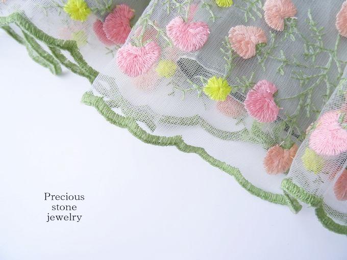 ぽんぽん刺繍フェミニンフラワースカート(全2カラー)