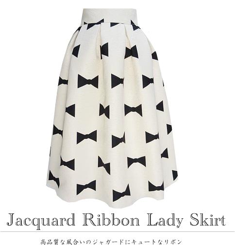 ジャガードリボンスカート(ライトアイボリーベース)